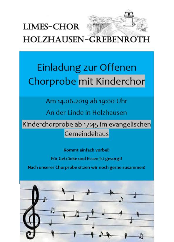 öffentliche Chorprobe 2019 Limes-Chor Holzhause-Grebenroth
